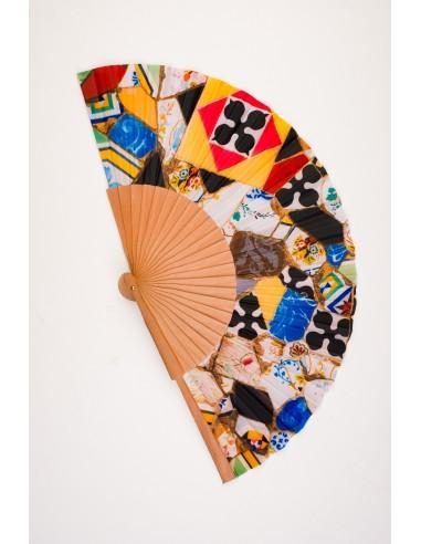 Modern wood and fabric fan, medium